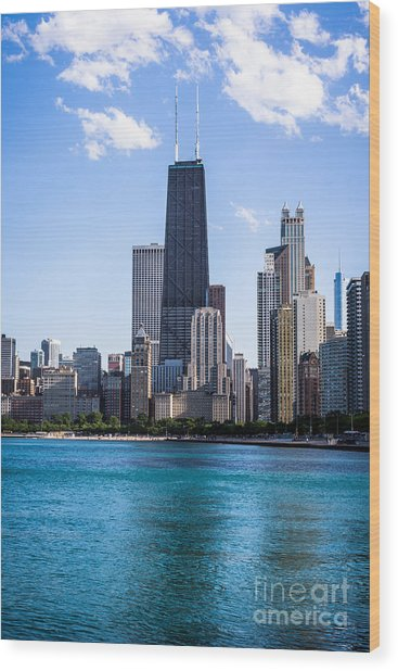 Chicago Photo Of Skyline And Hancock Building Wood Print