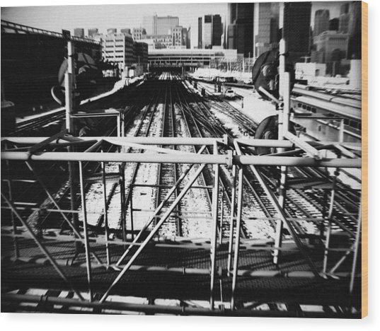 Chicago Railroad Yard Wood Print