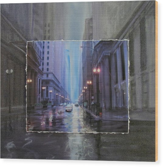 Chicago Rainy Street Expanded Wood Print