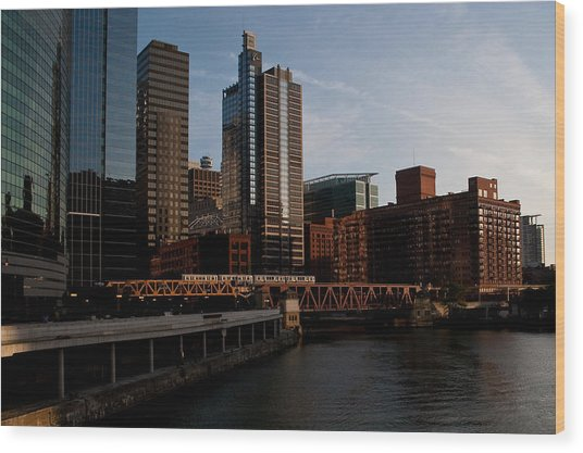 Chicago River And Downtown Wood Print