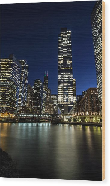 Chicago River And Skyline At Dusk  Wood Print