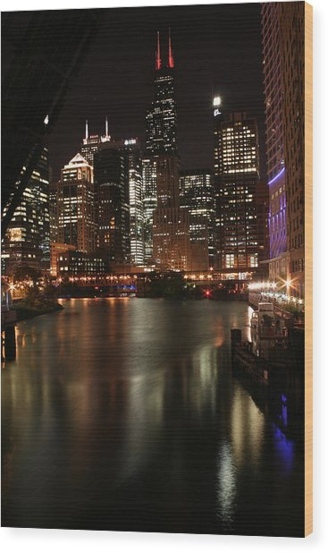 Chicago River At Night Wood Print by Christopher Purcell