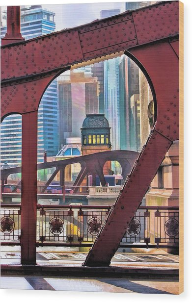 Chicago River Bridge Framed Wood Print