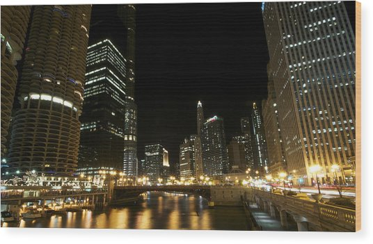 Chicago River Nights Wood Print