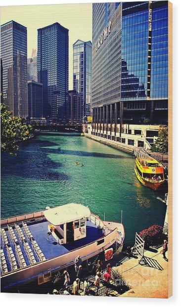 City Of Chicago - River Tour Wood Print