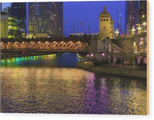 Chicago River Ver2 Wood Print