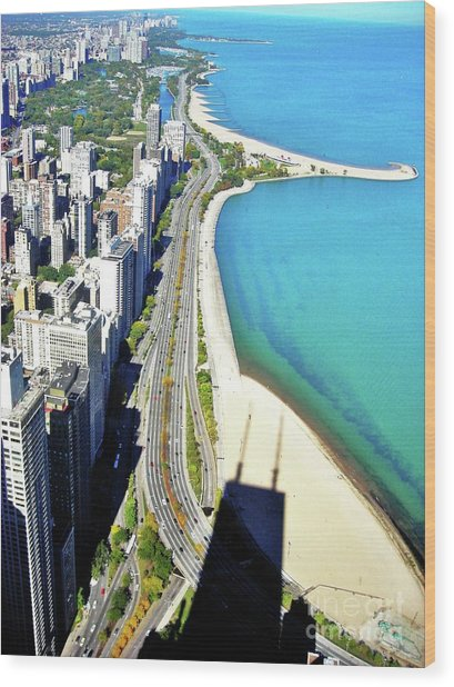 Chicago Shoreline Wood Print by Snapshot Studio