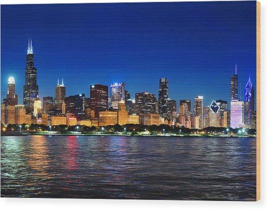 Chicago Shorline At Night Wood Print