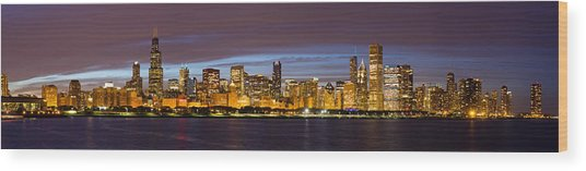 Chicago Skyline At Dusk Wood Print by Twenty Two North Photography