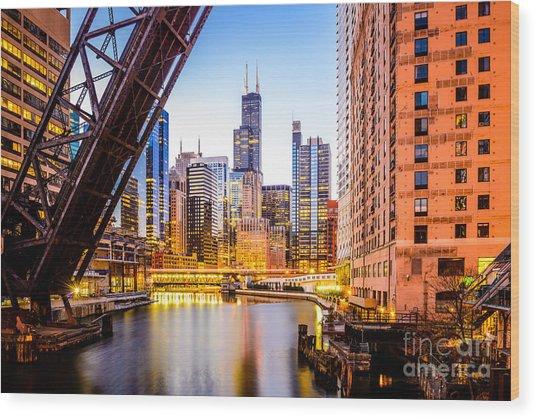 Chicago Skyline At Night And Kinzie Bridge Wood Print