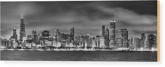 Chicago Skyline At Night Black And White Wood Print