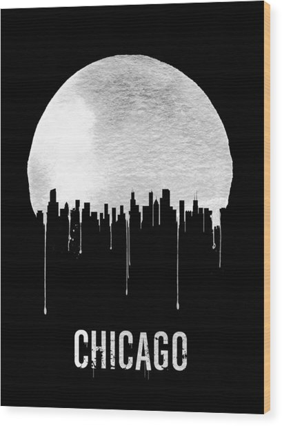 Chicago Skyline Black Wood Print