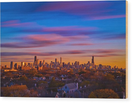 Chicago Skyline Blend Wood Print by Steve Kuzminski
