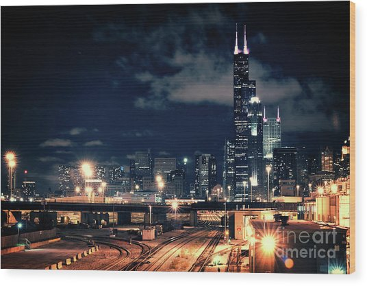 Chicago Skyline Cityscape At Night Wood Print