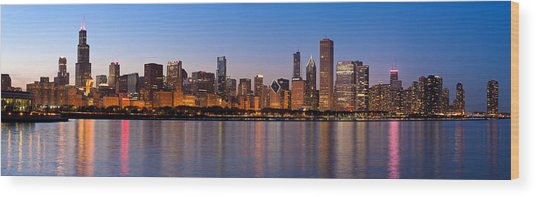 Chicago Skyline Evening Wood Print