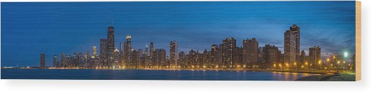 Chicago Skyline From North Ave Beach Panorama Wood Print