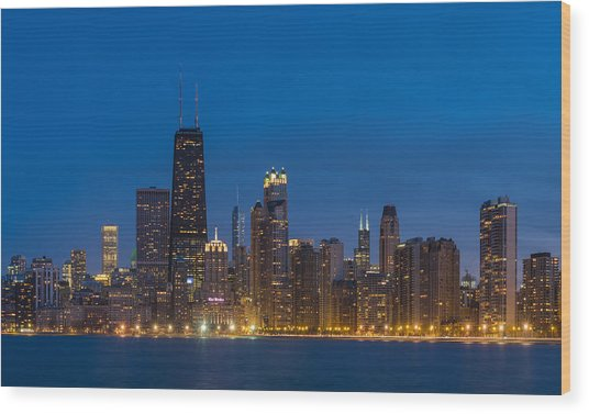 Chicago Skyline From North Ave Beach Wood Print