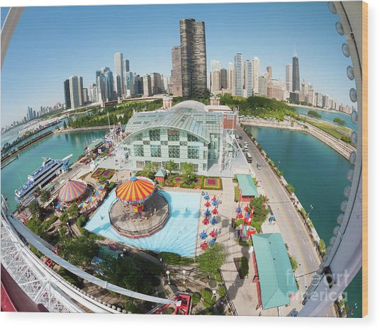 Chicago Skyline From The Navy Pier Ferris Wheel Wood Print by Felix Choo
