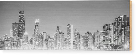 Chicago Skyline Gold Coast Panorama Photo Wood Print