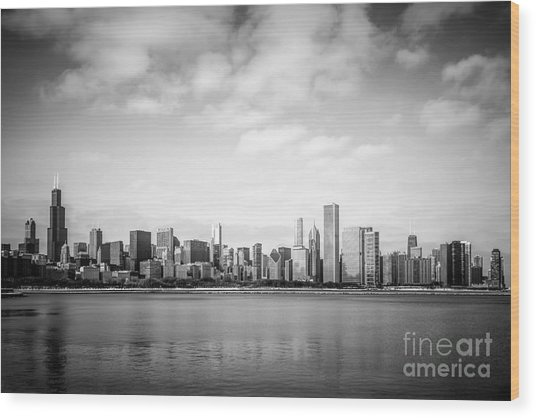 Chicago Skyline Lakefront Black And White Photo Wood Print