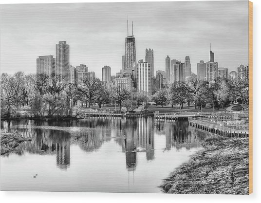 Chicago Skyline - Lincoln Park Wood Print