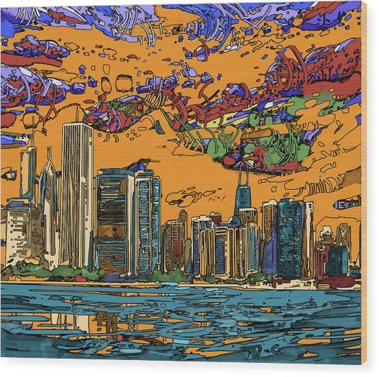 Chicago Skyline Panorama 2 Wood Print