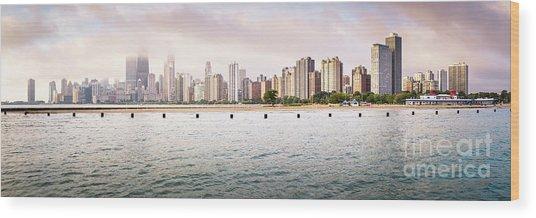 Chicago Skyline Panorama At North Avenue Beach Wood Print