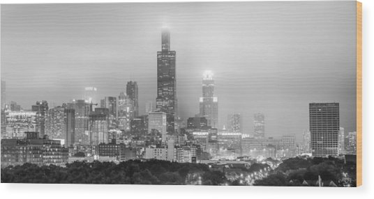 Chicago Skyline Panorama Wood Print