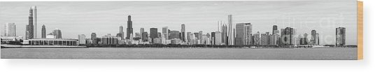 Chicago Skyline Panorama High Resolution Black And White Photo Wood Print