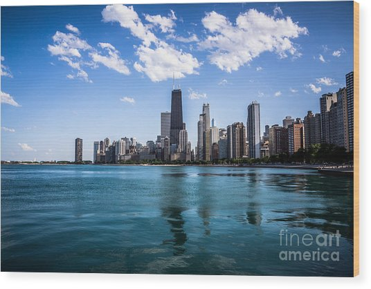 Chicago Skyline Photo With Hancock Building Wood Print