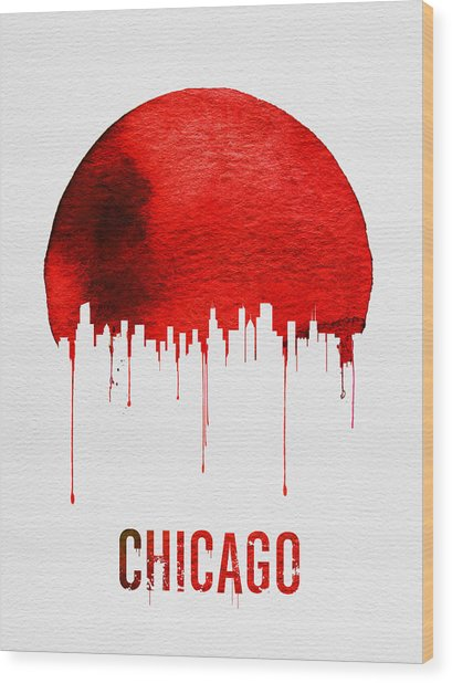 Chicago Skyline Red Wood Print