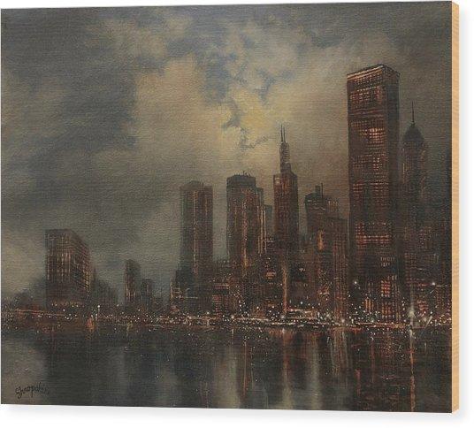 Chicago Skyline Wood Print by Tom Shropshire