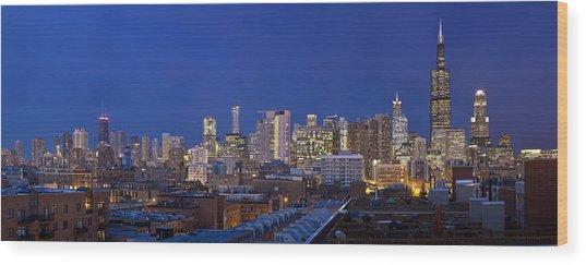 Chicago Skyline West Side Wood Print