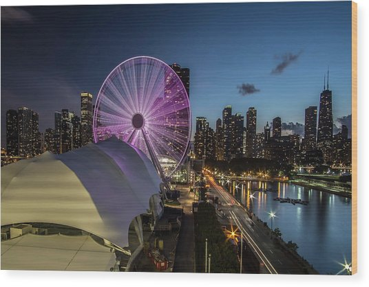 Chicago Skyline With New Ferris Wheel At Dusk Wood Print