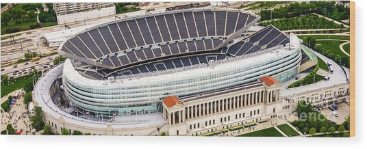 Chicago Soldier Field Aerial Photo Wood Print