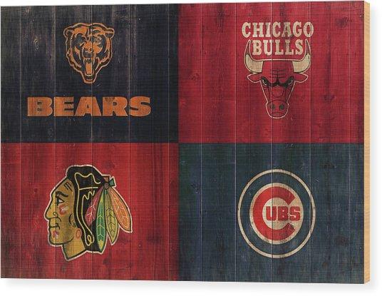 Chicago Sports Teams Rustic Wood Wood Print