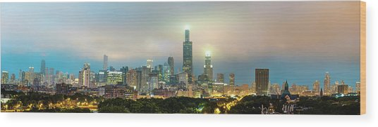 Chicago Stormy Skyline Panorama At Night Wood Print