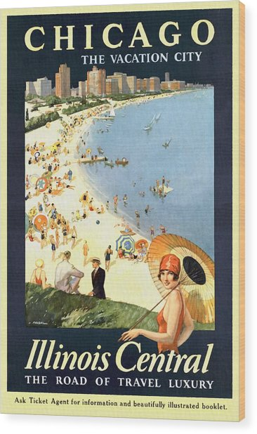 Chicago The Vacation City - Vintage Poster Restored Wood Print
