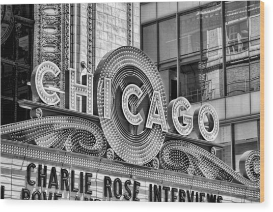 Chicago Theatre Marquee Black And White Wood Print