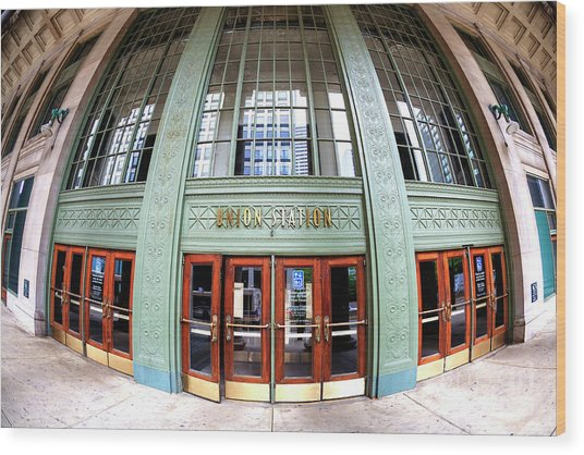 Chicago Union Station Fisheye Wood Print by John Rizzuto