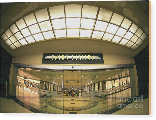 Chicago Union Station Interior Fisheye Wood Print by John Rizzuto
