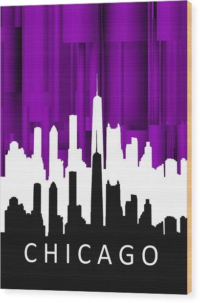 Chicago Violet In Negative Wood Print