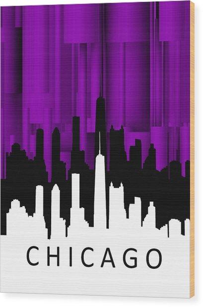 Chicago Violet Vertical  Wood Print