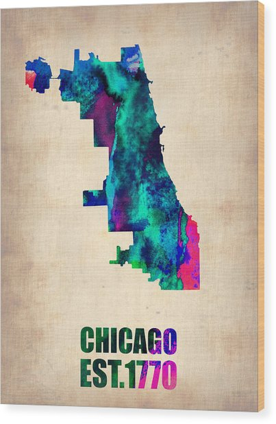 Chicago Watercolor Map Wood Print