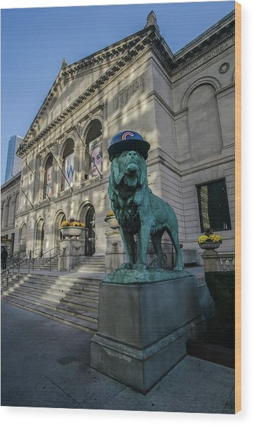 Chicago's Art Institute With Cubs Hat Wood Print