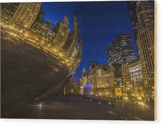 Chicago's Millenium Park At Dusk Wood Print