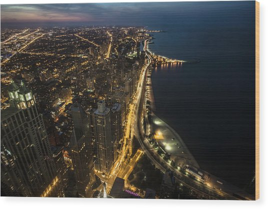 Chicago's North Side From Above At Night  Wood Print