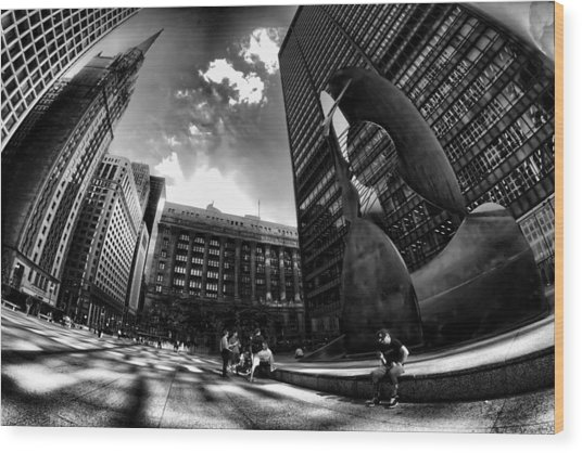 Chicago's Picasso With A Fisheye View Wood Print