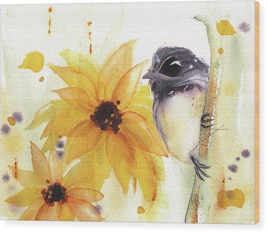 Chickadee And Sunflowers Wood Print