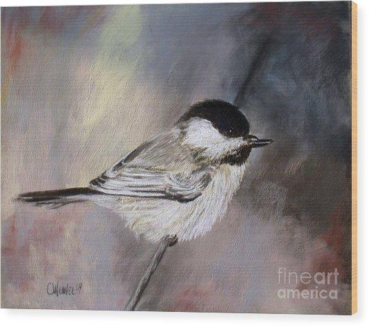 Chickadee Wood Print by Cathy Weaver